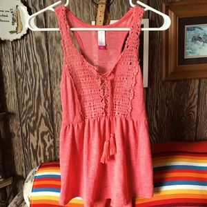 NOBO coral lace up front flowy tank top. 💗😍